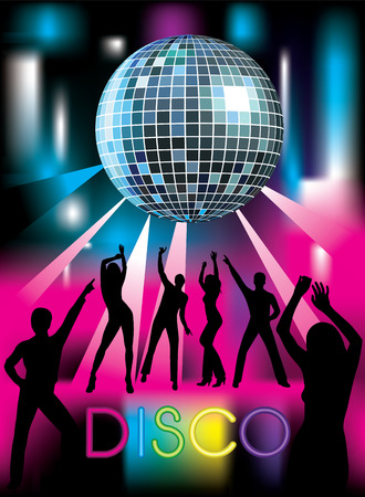 woman in mirror: Disco party. Dancing people. Vector illustration