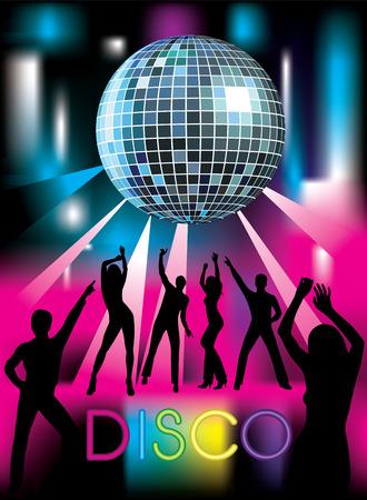 Disco party. Dansende mensen. Vector illustratie Stock Illustratie