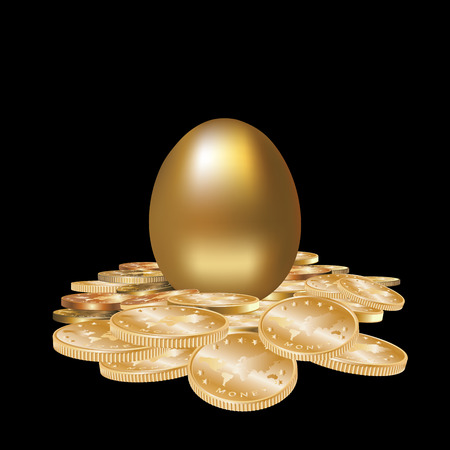 priceless: Gold egg in golden coins isolated. Vector illustration