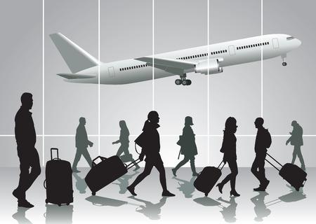 Reizende mensen lopen op de luchthaven. Vector illustratie
