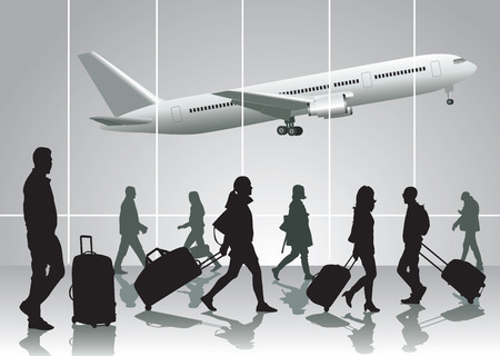 Traveling people walking at airport. Vector illustration