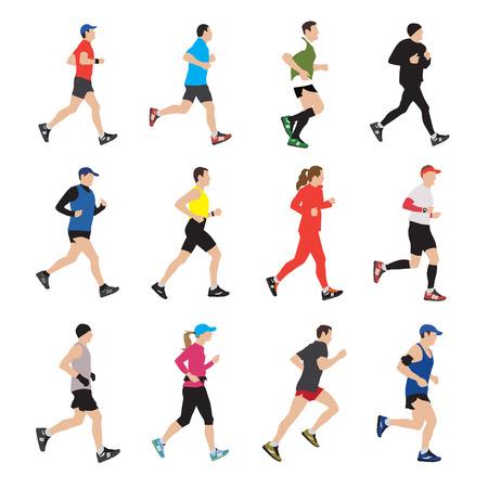 atleta corriendo: Ejecución de siluetas de personas. Ilustración vectorial