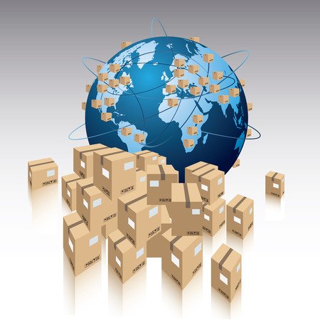 global logistics: The world and lot of packages.