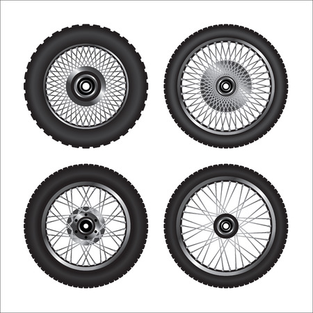 Detailed motorcycle wheels.  Vector