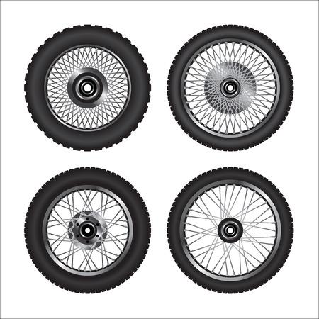 Detailed motorcycle wheels.