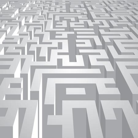 escape route: Endless labyrinth corridors. Vector illustration