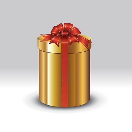 magic box: Golden gift box with red ribbon. Vector illustration