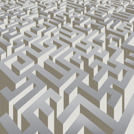 complicated: Complicated labyrinth corridors. Vector illustration
