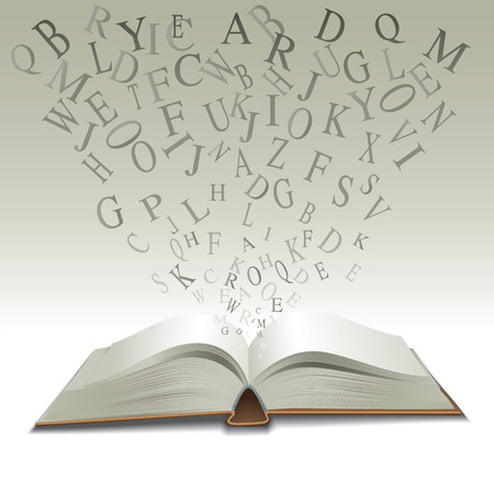 bibliophile: An open book with letters. Vector illustration
