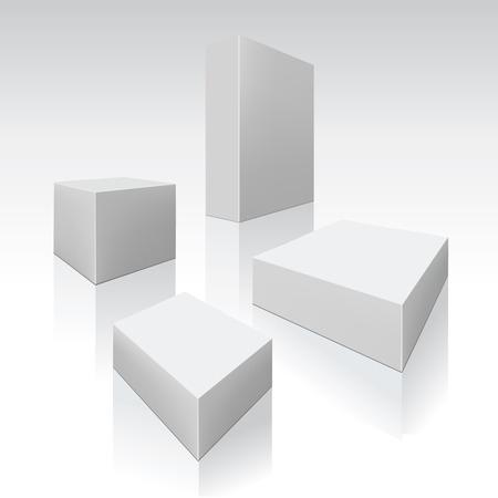 white boxes: Set of white boxes. Vector illustration