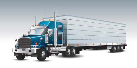 American commercial delivery truck. Vector illustration