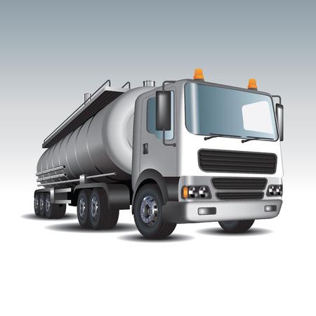 Tankwagen en brandstoftanks. Vector illustratie