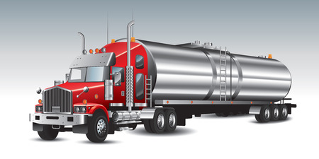 tractor trailer: American tank truck and fuel tanks. Vector illustration