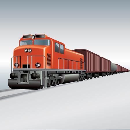 Güterzug auf einer Schiene unterwegs. Vektor-Illustration