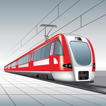 treno espresso: Treno passeggeri locale. Illustrazione vettoriale