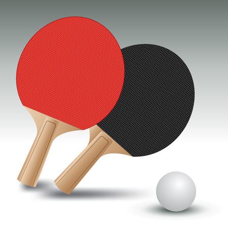 ping pong: Ping pong raquetas con la pelota. Mesa de ping pong. Ilustración vectorial