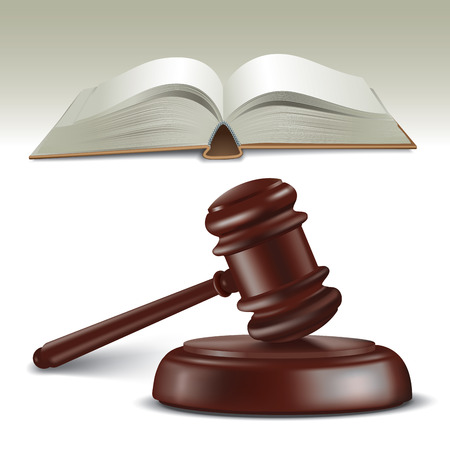 Wooden judges gavel and book. Vector illustration Vector