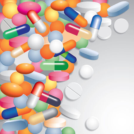 medica: Colored tablets and capsules. Medical background. Vector illustration