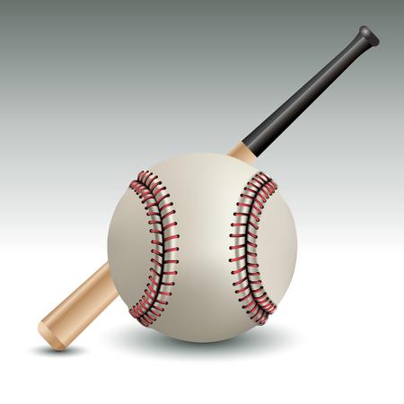 Realistic ball and baseball bat. Vector illustration Vector