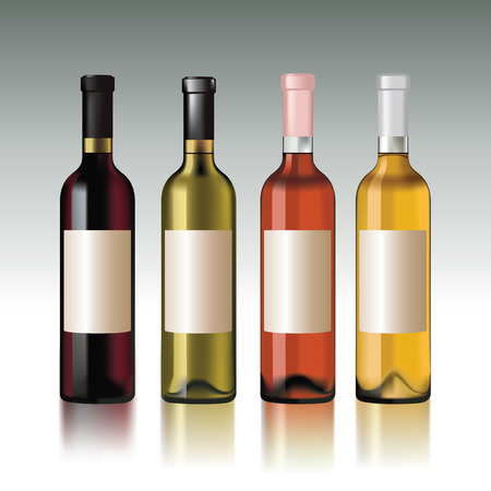 Set of wine bottles with empty labels.  Illustration