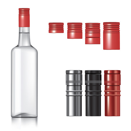 vodka: Classic vodka bottle with different caps.