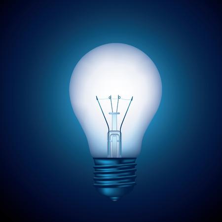 energysaving: Glowing light bulb on blue background.