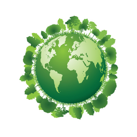 Planet earth with plants. Vector illustration
