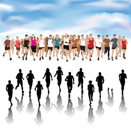 Set van het runnen van mensen silhouetten. Vector Illustratie