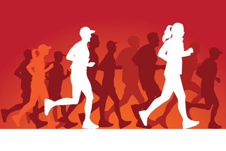 Running people silhouettes. Vector Illustration Vector