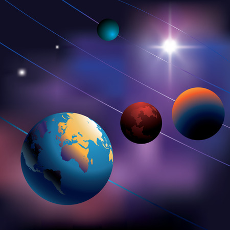 milky: Night sky with planets. Vector illustration