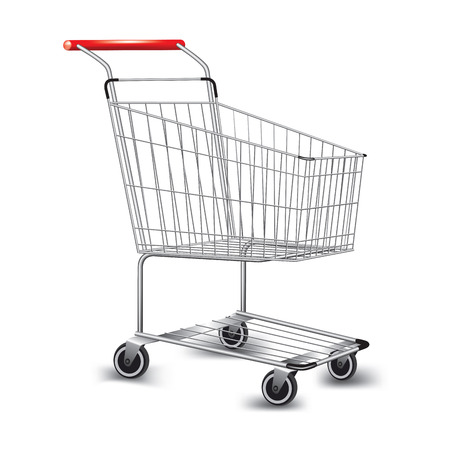 mall shopping: Empty supermarket shopping cart. Vector illustration Illustration