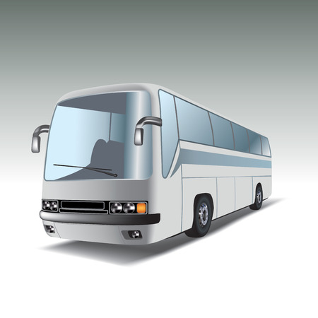 Big white tour bus  Vector illustration