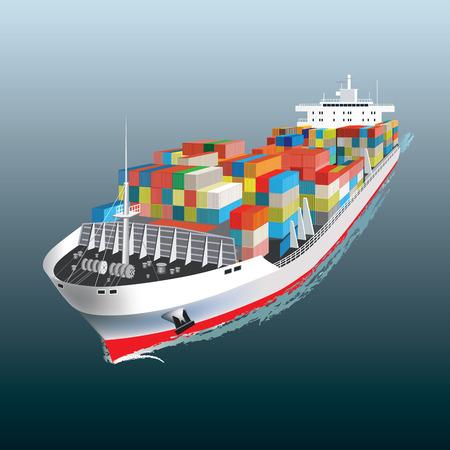 Luchtfoto van een vrachtschip Vector illustratie