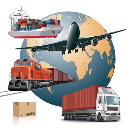 transportes: Mundial del transporte de carga amplia concepto de ilustración vectorial
