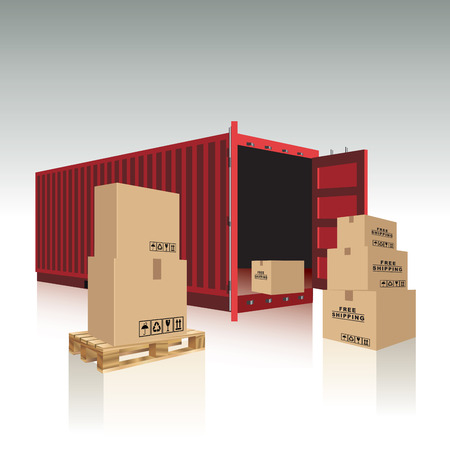 cargo container: Open container with cardboard boxes  Vector illustration Illustration