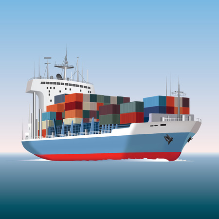 freight: Cargo container ship sailing  Vector illustration