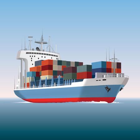Contenedor de carga ilustración vectorial barco navegando Foto de archivo - 29457890