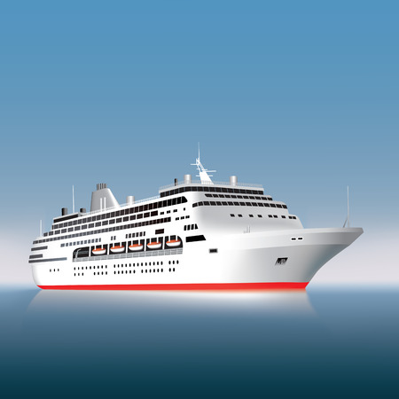 ship sky: Big cruise ship on the sea or ocean  Vector illustration