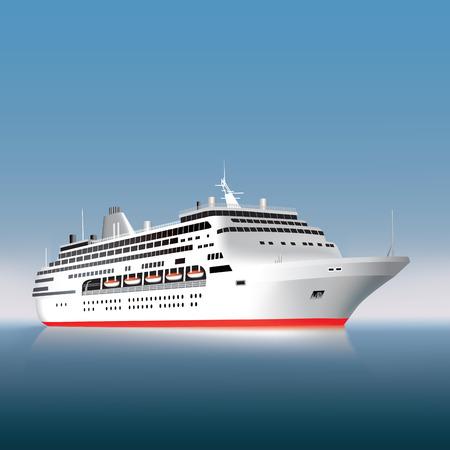 Big cruise ship on the sea or ocean  Vector illustration