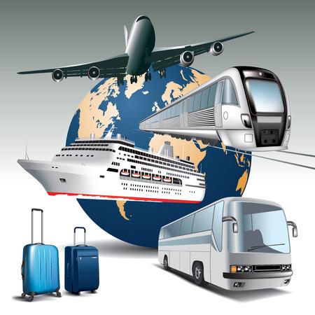 Transporte de passageiros em todos os meios de transporte ilustra Ilustração