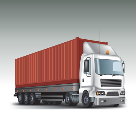 Container at the dock with truck  Vector illustration
