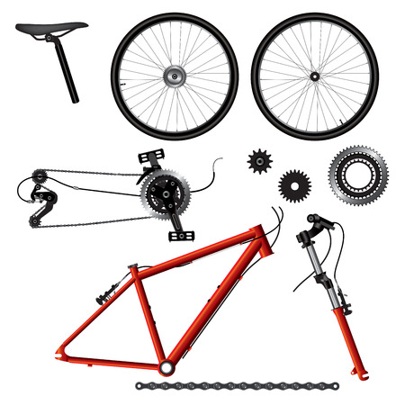 Illustration of bicycle parts. Vector format