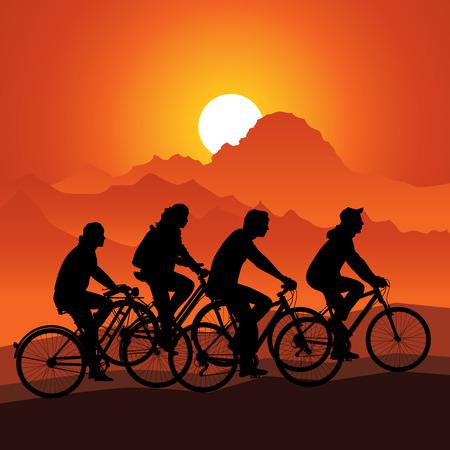 bicicleta vector: Siluetas de los jinetes de la bici de montaña de la naturaleza. Ilustración vectorial Vectores