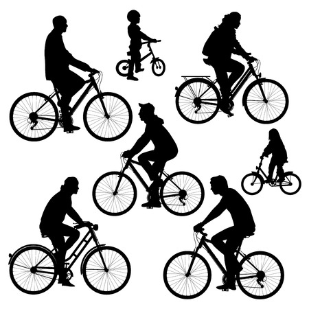 bicycle silhouette: Bicyclists silhouettes collection. Vector illustration