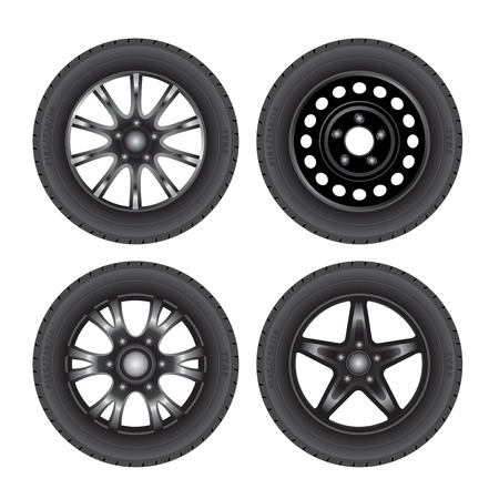 wheel rim: Set of car discs with tires. Vector illustration Illustration