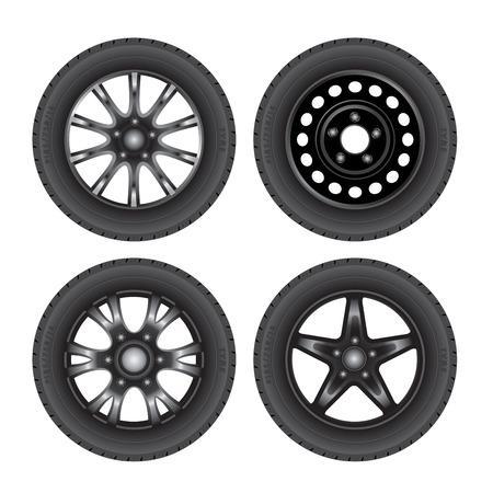 Set of car discs with tires. Vector illustration Illustration