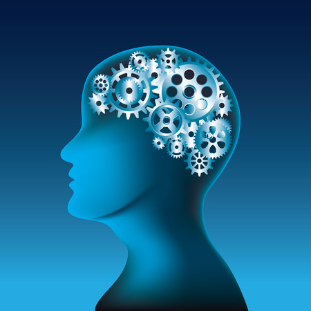concentration gear: Head and brain gears in progress. Vector illustration