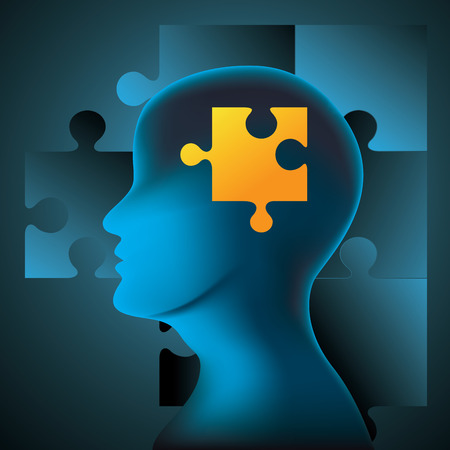 jig saw puzzle: Human brain and jigsaw puzzle. Vector illustration
