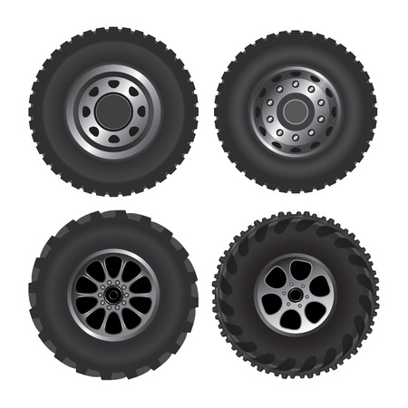 vulcanization: Set of truck discs with tires. Vector illustration