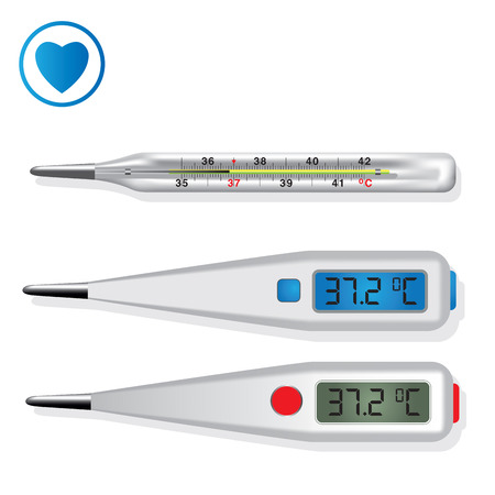 Digital and mercury medical thermometers illustration